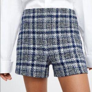 NWOT Zara Tweed Plaid Shorts
